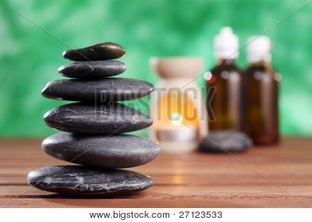 stack of the stone and the aroma burner