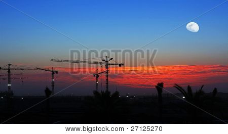 Cranes over sunset sky and moon