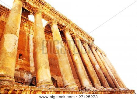 Jupiter's temple ancient Roman columns isolated on white, Baalbek, Lebanon