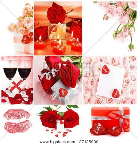 Love concept collage with various images of roses, gifts , hearts & cards