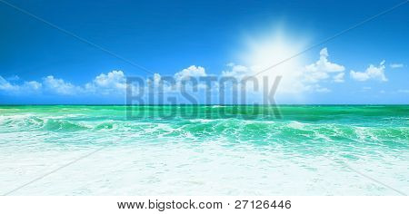 Beautiful blue beach panoramic sea view, with clean water & blue sky, concept of vacation & peace