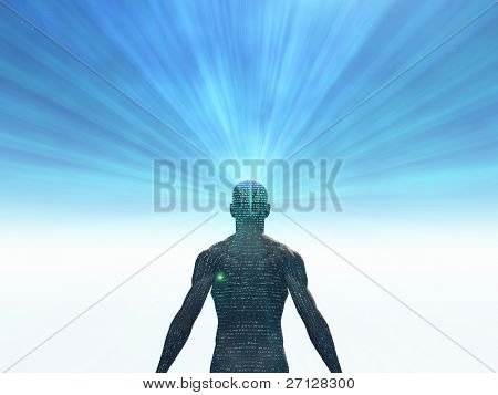 Man covered in text with light radiating from mind