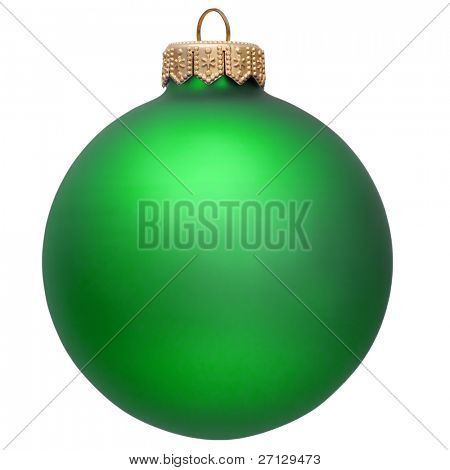 christmas ball (christmas ornament ). green color. Isolated over white.