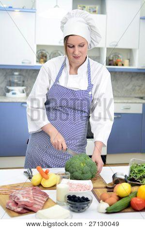 Attractive Chief Cook Preparing Food