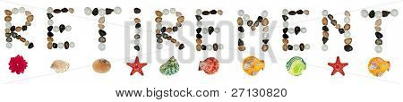 Retirement word made of stones and sea objects