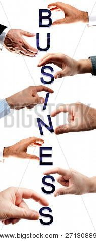 Business word made by many business people hands