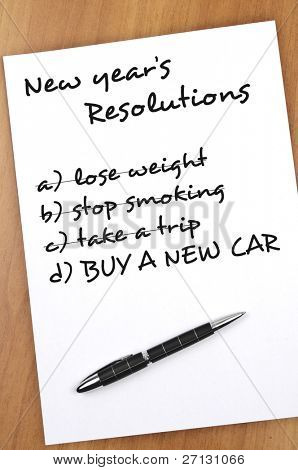 New year resolution with  Buy new car not completed