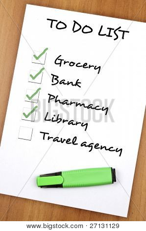 To do list with Travel agency not checked