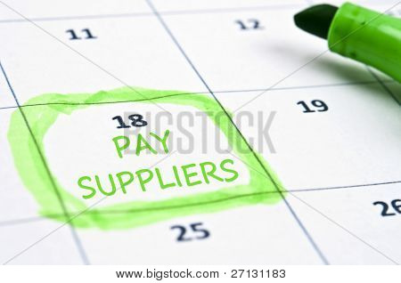 Calendar mark  with Pay suppliers