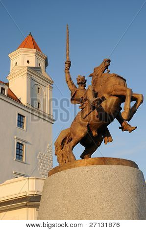 Statue of king Svatopluk in Bratislava castle