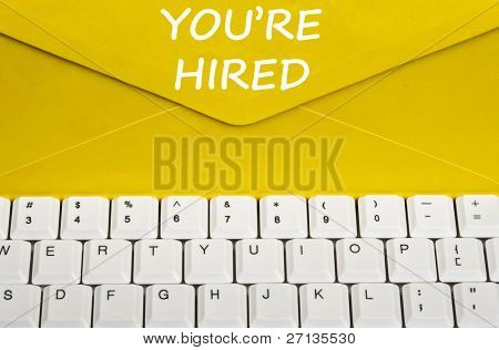 You're hired message on envelope