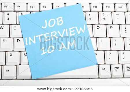 Job interview mesage on keyboard