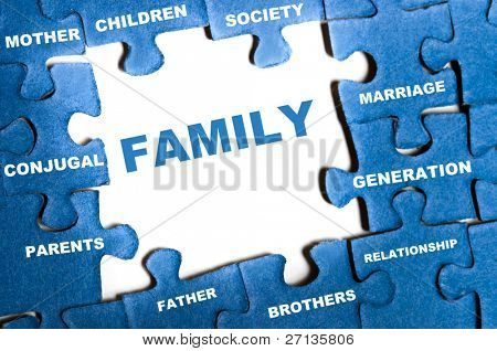 Family blue puzzle pieces assembled