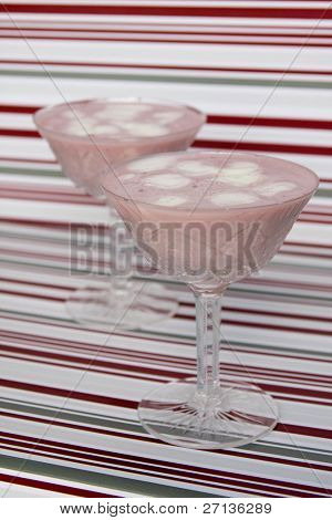 decorated strawberry mousse in glass