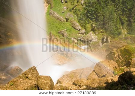 huge waterfall in slovenian julian alps