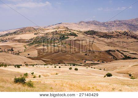 summer highland landscape in sicily