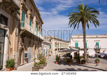 typical old sicilian architecture, italy