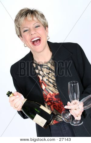 Business Woman With Bottle Of Champagne