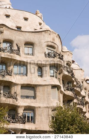 typical Art Nouveau building in Barcelona, Spain