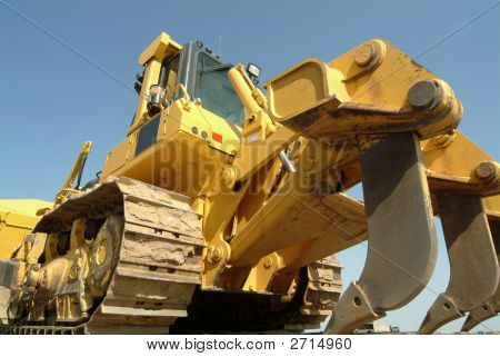 Bulldozer Perspective In Construction Site