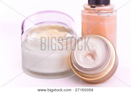 set of nourishing creams and makeup