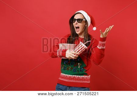 Scared Young Santa Girl In