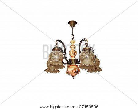 Chandelier With Frilly Shades.