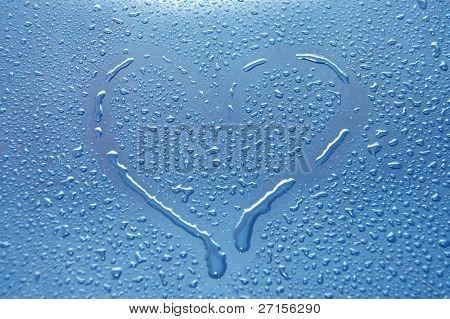 heart between water drops