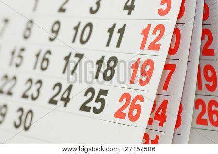 Close up a calendar page