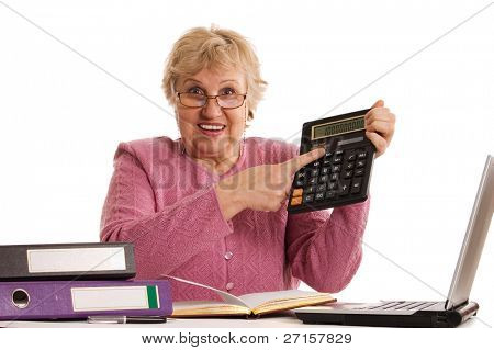 The elderly woman with the calculator