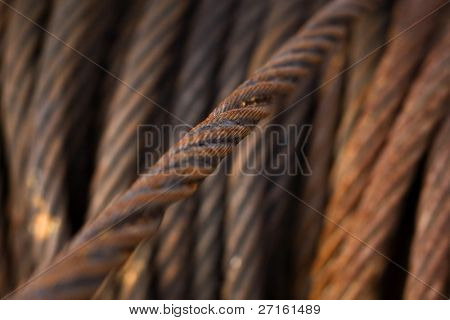 Closeup of rusty iron rope