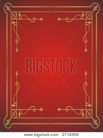 Golden Frame On Red Background