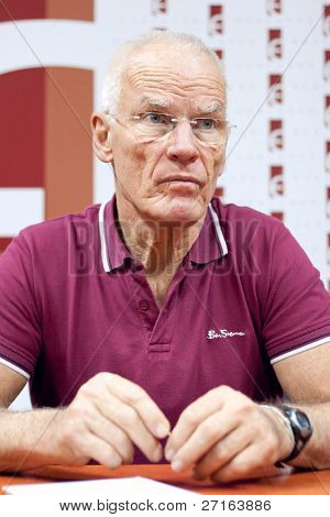 LVIV, UKRAINE - OCTOBER 18: Buddhist Lama Ole Nydahl meets journalists on a press conference on October 18, 2010 in Lviv, Ukraine.