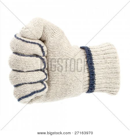 Fist in white glove isolated on white background