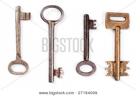 Vintage keys on white background