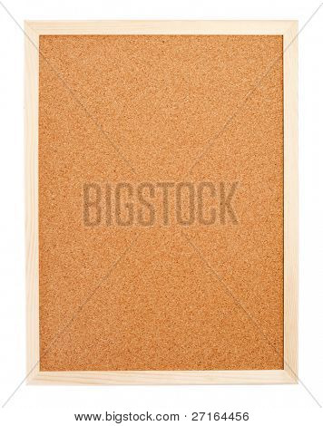 Blank corkboard with a wooden frame isolated on white