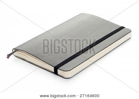 Black Moleskine notebook (pocket size, soft) on white background