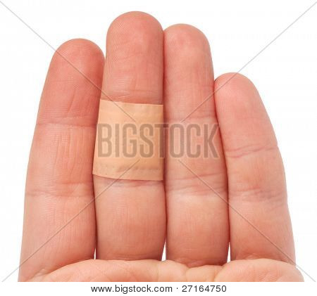 bandaid on hand isolated over white background
