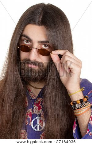 Long-haired hippie man with the glasses