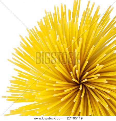 Bunch of spaghetti isolated on white. Top view.
