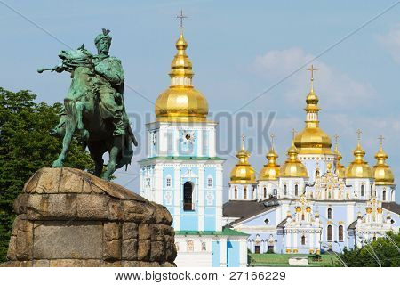 Monument of famous Ukrainian Hetman Bogdan Khmelnitsky in front of St. Michael's Golden-Domed Monastery in Kiev, Ukraine
