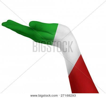 Italian flag on an open hand