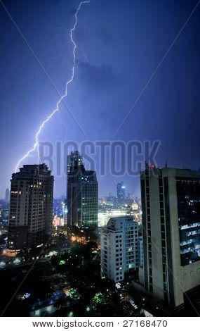 Lightning bolts lash Jakarta, Indonesia