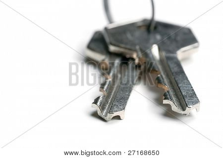 A pair of keys isolated on white