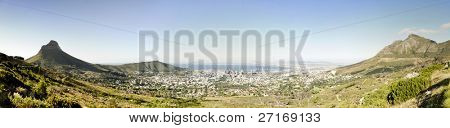 Panoramic of Cape Town shot from the base of Table Mountain