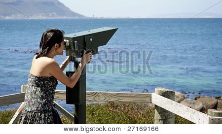 Tourist telescope at boulders beach in Cape Town