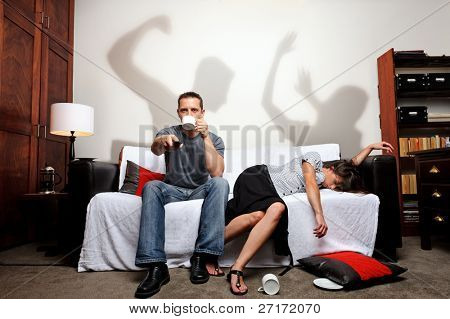 Shadows showing what just happened between the couple, a domestic abuse concept