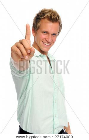 Attractive caucasian man makes a number 1 hand gesture