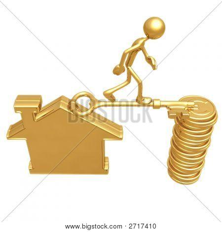 Golden Key Bridge Between Home And Coins