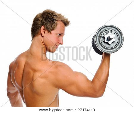 Handsome muscular man uses his dumbbell to exercise; flexing bicep muscle